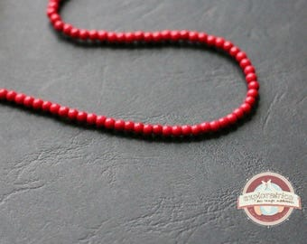 40 beads round gemstones 4mm red howlite hole 1 mm