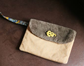 make up bag in cotton and faux fur, orange and Brown Snake 13, 5 x 18, 5cm