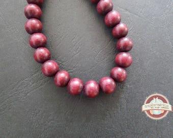 10 ethnic round 8mm ethnic Burgundy Red wooden beads