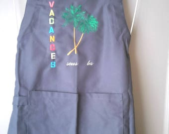 APRON gray cotton canvas, holiday envy, embroidery machine