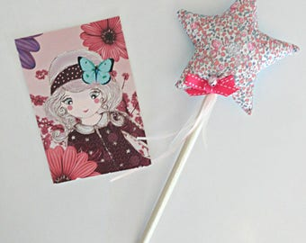 Two-tone fairy star wand / Liberty Eloise turquoise with Bell in STOCK