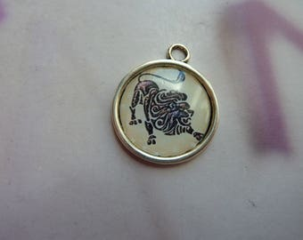 1 cabochon resin 20mm silver metal round lion zodiac sign