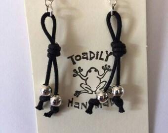 Black waxed cotton cord earrings/silver earrings/earrings