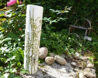 Bamboo shaped white porcelain vase