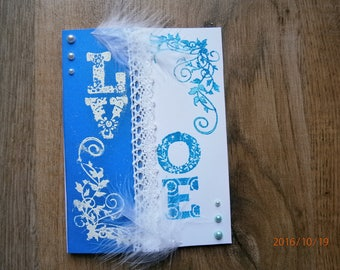 """All card """"love"""" theme, blue and white"""