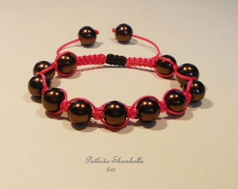 Shamballa bracelet with glass pearls