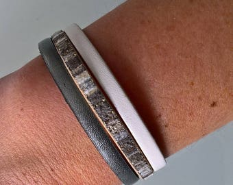 Bracelet 3 row leather and faux leather