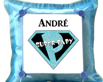 Blue cushion Superpapy personalized with name