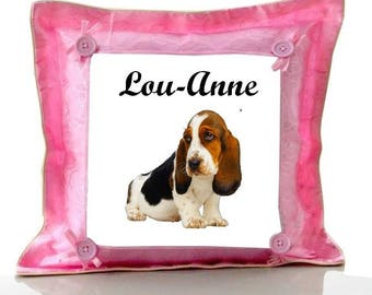 Cushion Pink Basset personalized with name