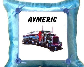 Blue cushion truck personalized with name