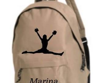 beige backpack cheerleader personalized with name