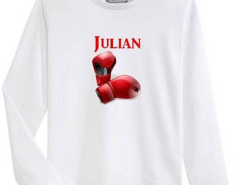 T-shirt boy long sleeve boxing gloves personalized with name