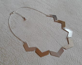geometric Chevron gold and silver - jewelry necklace gold - silver jewelry - modern jewelry - women jewelry