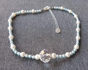Sky blue and white Pearly glass bead necklace