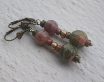 Indian agate and Unakite Earrings: