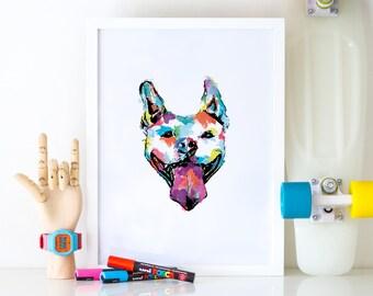 Pit Bull Digital Print, Digital Download, Printable Art, Wall Art, Instant Download, Kitchen Decor, Modern Art, Minimalist, Watercolor Dog