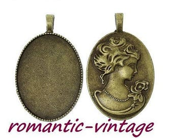 30 * 40mm; 1 bronze support for 30 * 40mm glass cabochon