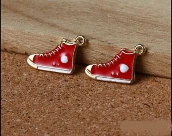 5 enameled Golden sneaker charms red, 12 * 20 mm