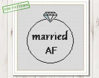 Wedding Cross Stitch Pattern Married Cross Stitch Pattern Married AF Modern Cross Stitch Easy Cross Stitch Pattern