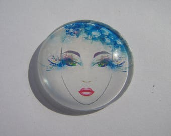Cabochon 30 mm round domed with woman face image