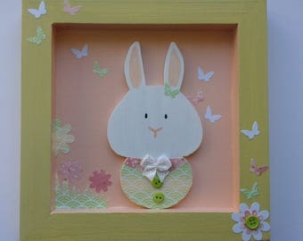 Frame for baby / child: baby Bunny and butterflies