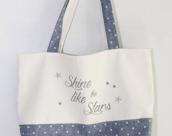 "TWO-TONE DENIM TOTE BAG ' S STAR ""SHINE LIKE THE STARS"""