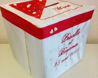 Money box / urn / pot for wedding or any occasion customized with names, red or other