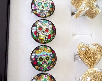 Ring 2cm Mexican skulls themed cabochons and jack to choose
