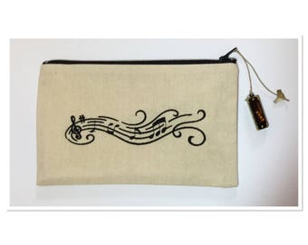 BAG EMBROIDERED WITH HARMONICA CHARM BLACK MUSICAL STAFF