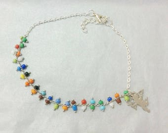 anklet - beaded chain + Angel charm