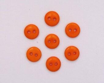 Set of 20 mini buttons Orange 9 mm - 001937