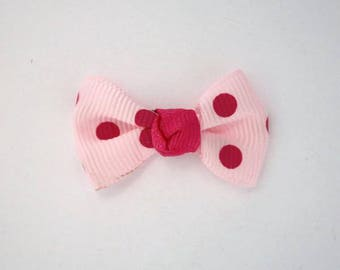 Node in Grosgrain Ribbon with polka dots set of 25: Rose Clair - 001806