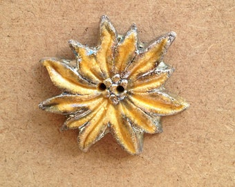 Button decorative raku ceramic 2 holes - flower - yellow Edelweiss - textile design or any other item (18)