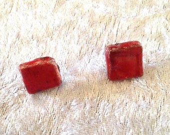 Pair of earrings - studs - red square - raku ceramic