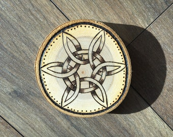Wood Burned Decorations with Celtic Design