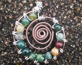 Indian agate beads pendant