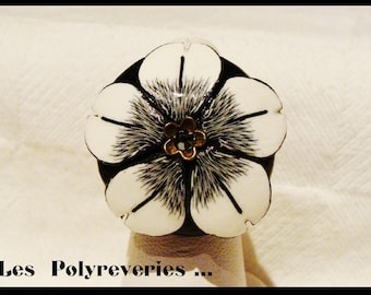 Black and white - polymer clay flower ring is hand-unique-