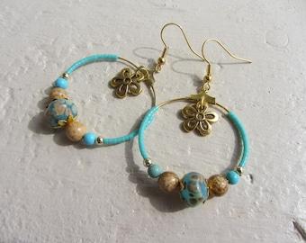 Hoop earrings gold, handmade glass organic stones and miyuki turquoise and beige flower charm