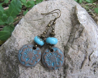 Earrings ethnic sequin ceramic Earth Brown flower and blue glass bead