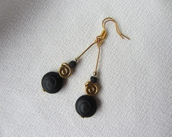Dangling black Czech glass beads, spiral gold, seed beads, elegant and simple, black and gold, Christmas