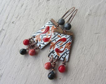copper earrings enamel, Lampwork and gemstone, theme fish spirit the Japan, red, gray, white, charm drops glass