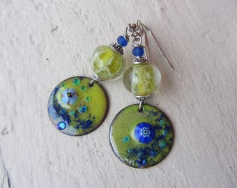 Earrings original colourful, handmade glass and lime green and bright blue enameled copper disc charm