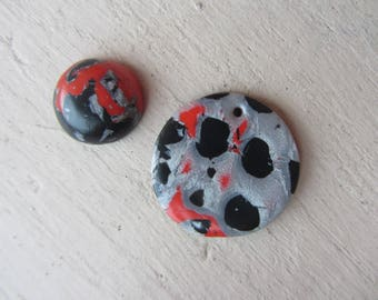 pieces for design - set round cabochon and round polymer clay pendant mixed red, black and silver