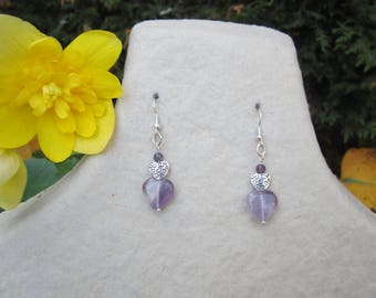 Silver plated earrings with Amethyst heart and silver heart finish