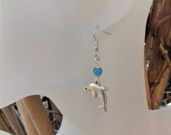 Child earrings where women in silver plated and blue agate bead / stone of luck
