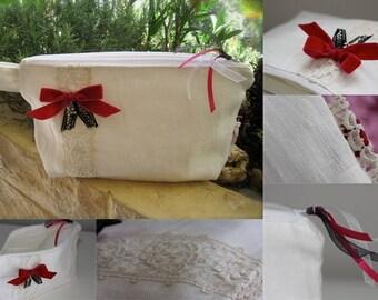 White linen, lace old case fuchsia velvet bow