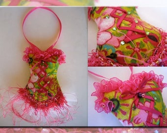 Hanging in colorful fabric lace ruffles and tulle strapless