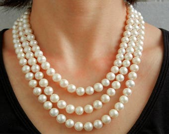 Custom 3 rows of cultured fresh water Pearl Necklace