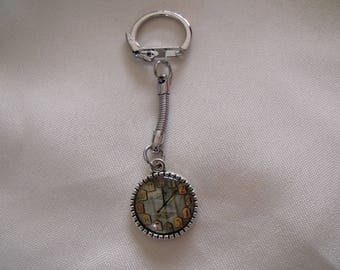 Clearance Keychain silver cabochon glass 18mm clock