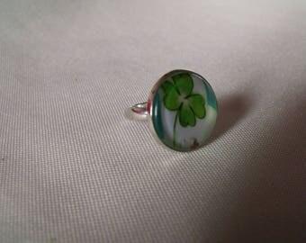 cabochon glass 20mm-4 leaf clover
